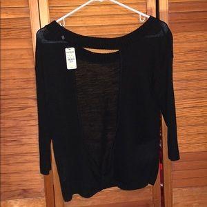 Black open back sweater